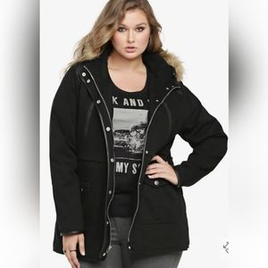 TORRID Hooded Sherpa Lined Twill Parka Coat Jacket Quilted Faux Leather Trim